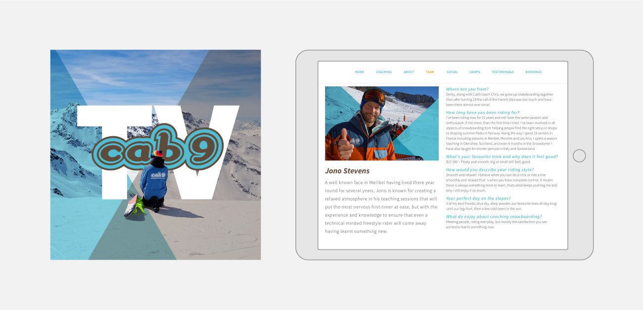 Cab9 Snowboarding Website Design | John Shannon | Web Designer | Brighton