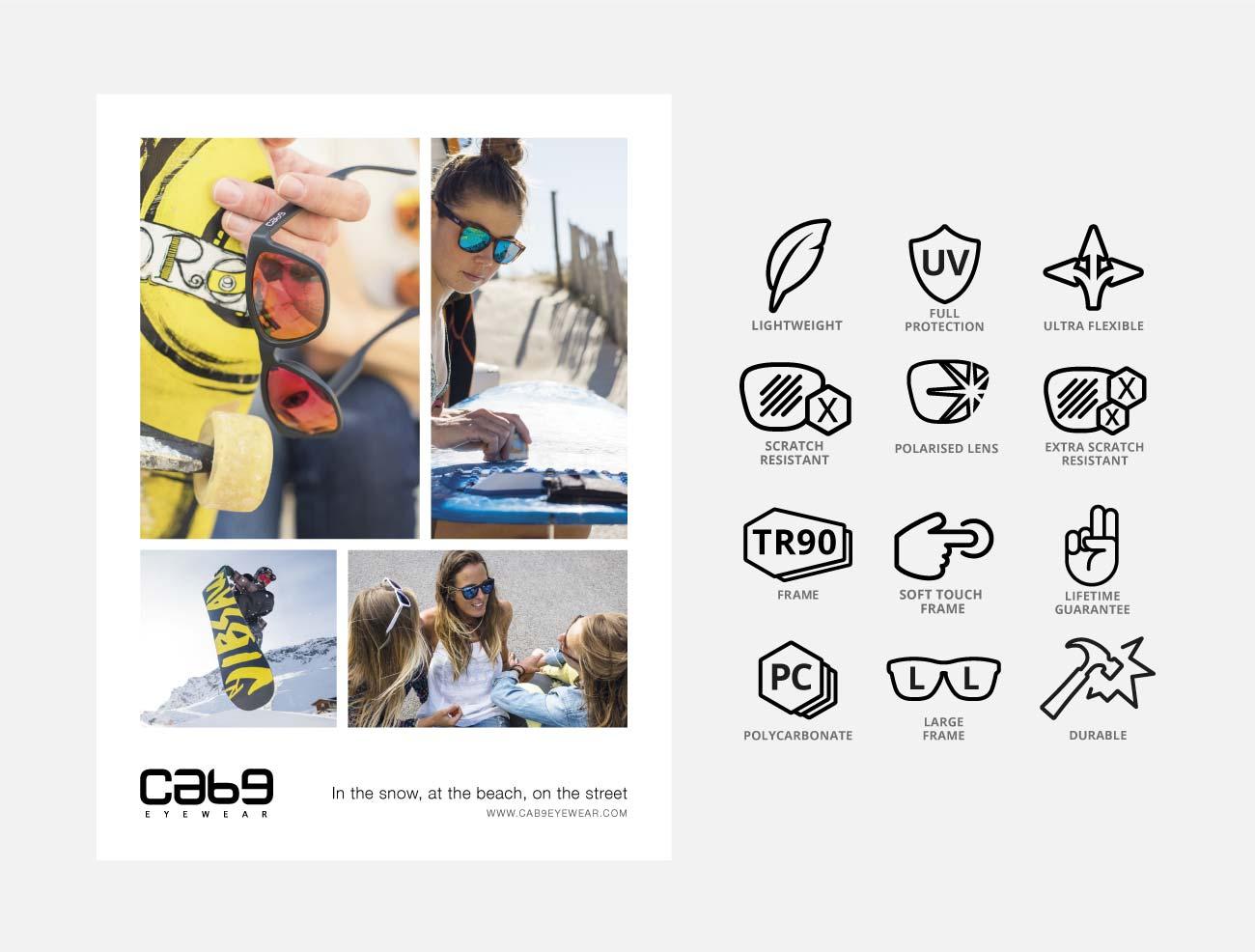 Icon Design, Advert Design, Cab9-Eyewear   John Shannon   Graphic Designer   Brighton